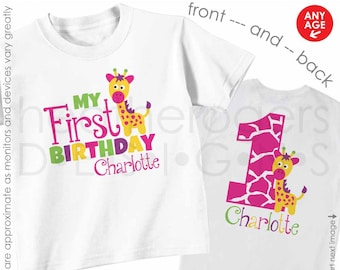 Giraffe 1st Birthday Shirt or bodysuit (MULTI-COLORS) - Personalized Zoo or Jungle First Birthday Shirt with Child's Name & Age