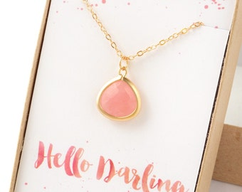 Hello Darling Pink Necklace Gift Jewelry Bridesmaid Gift Jewelry Pink Opal Necklace Bridal Accessories Gift Wedding Party Gift Limonbijoux