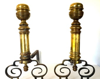 Antique pair of Brass Andirons Fire Dogs