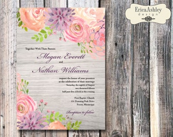 Watercolor Flowers Wedding Invitation - 5 X 7 - Multiple Lace Designs (Digital File Version Available)