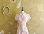 Vintage 1940s -All Eyes On You- Pink Sheer Lace Dress