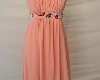 Strapless Orange Bridesmaid Dress/ Alternative Wedding Dress/ Fall Wedding Mother of the Bride Dress/ Floral Bridesmaid