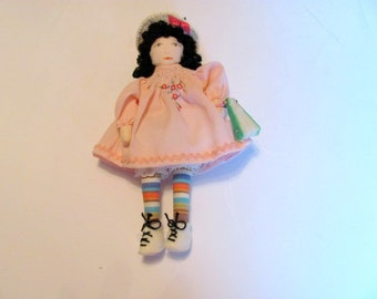 Tiny Cloth Doll Hand Made  /  Cute Little Cloth Doll with Painted Face