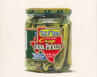 Okra Pickles. Original egg tempera illustration from 'The Taste of America' book.