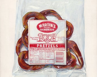 Pretzels. Original egg tempera illustration from 'The Taste of America' book.