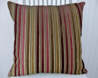 Pink Velvet Pillow Cover --18x18 or 20x20 or 22x22 with Red, Brown and Beige, Decorative Throw Pillow Cover- Accent Pillow