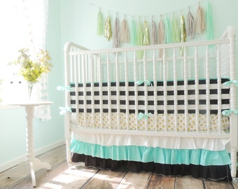 Aqua, Black, White and Gold Crib Bedding with Metallic Gold Sheet and Striped Bumper