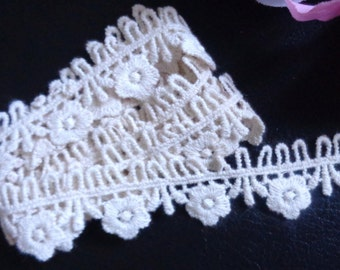 1 inch wide natural color cotton lace trim selling by the yard