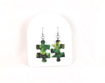 New Puzzle Piece Earrings / Green Leaves / Upcycled Jewelry / Great Gift Idea