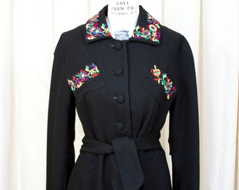 1930s Coat // Colorful Embroidery Black Wool Full Length Coat