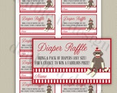 INSTANT DOWNLOAD - Sock Monkey Diaper Raffle Tickets - Baby Shower Game - Printable DIY