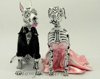 Skull great dane wedding handmade skull dogs collections cake topper
