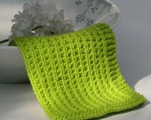 Hand knitted dish cloth - wash cloth - lime green