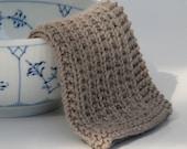 Hand knitted baby wash cloth - soft cotton suede beige