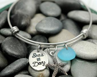 Personalized Beach Bangle - Expandable Wire Bangle - Hand Stamped Jewelry - Sea Glass Jewelry - Starfish Bracelet - Personalized Bracelet