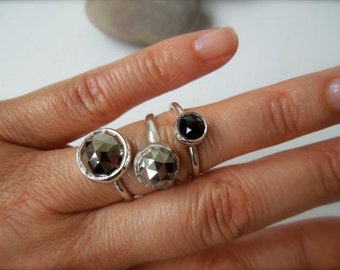 Rose Cut Pyrite Fool's Gold and Silver Stack Ring  -  10mm