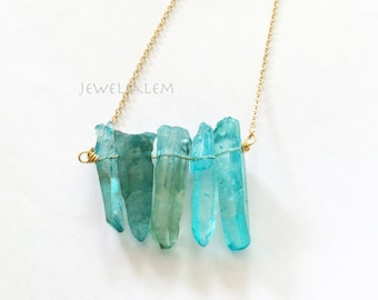 Turquoise Quartz Necklace Aqua Ombre Mint Green Gold Silver Chain Wire Wrapped Blue Gemstone Raw Crystal Ice Berg Arrow Clear Stone Gift C1
