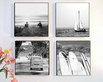Beach Photography Set Black White, Retro Surfing Wall Art Wood Block, Surfing Photography, Surfer Wall Art Set