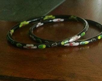 Vintage 1970's Cloisionne Bracelets Set of 2
