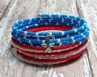 Patriotic Memory Wire Bracelet, Patriotic Bracelet, Fourth of July Bracelet, July 4th Bracelet, 4th of July Bracelet, Holiday Bracelet
