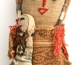 Peruvian Peru CHANCAY DOLL holding BABY hand stitched burial w Ancient Textiles Lima stitched woven artisans