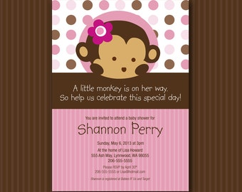 Pink Monkey Baby Shower Invitation Digital File Matches Mod Pod Pop Monkey INSTANT DOWNLOAD Customizable MicroSoft Word Template