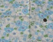 blue cotton floral fabric  prairie girl country primitive cotton