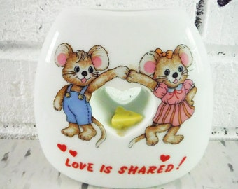 Vintage vase love boy and girl mouse sharing made in japan ceramic white