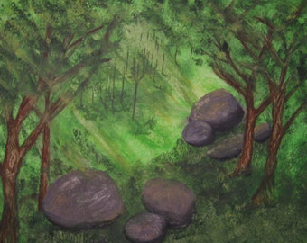 MOVING SALE: The Clearing Original Acrylic Painting on Stretched Canvas
