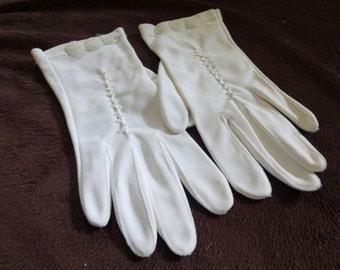 Vintage Gloves Women's White Beaded