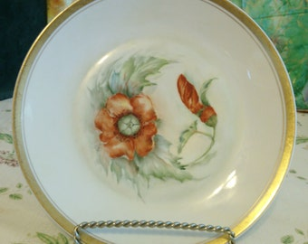 REDUCED  Poppy Plate by Vendome Porcelain, hand Painted Cake or Cookie Plate