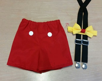 Boy cake smash outfit, Mickey Mouse inspired cake smash set, smash cake outfit
