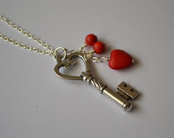Red Turquoise heart key necklace