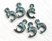 Dolphin charms, small baby dolphins, green patina on copper, Greek beads, metal dolphin, nautical beads - 14mm - 6Pc - F207