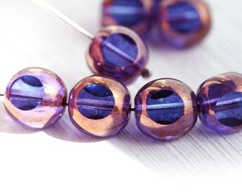 Blue Purple beads with luster, czech glass beads, fire polished, round cut - 10mm - 10Pc - 2089