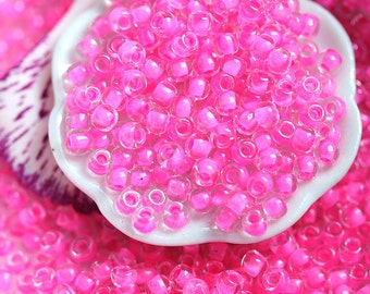 Bright Pink Seed beads, Toho beads, size 11/0, Inside-Color Crystal Carnation Lined  N 965 - 10g - S453