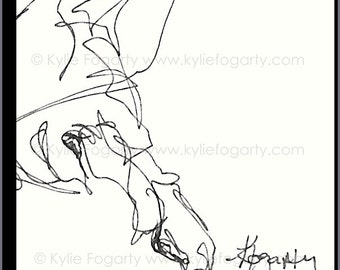 HORSE - ACEO Original Blind Contour Drawing of a Bridled Horse by Kylie Fogarty, SFA, Equine Art