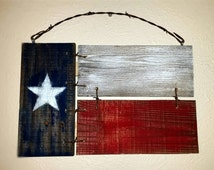Texas Flag Painted Fence Panel Wood Sign Wall Decor with Barb Wire Accent Custom