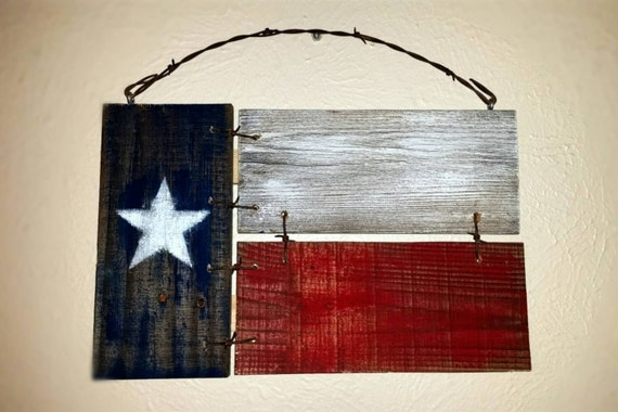 Items similar to texas flag painted fence panel wood sign for Painted american flag wall art