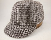 6 panel brown check wool cap. 1910s visor, leather or cotton sweatband, any size, custom made.