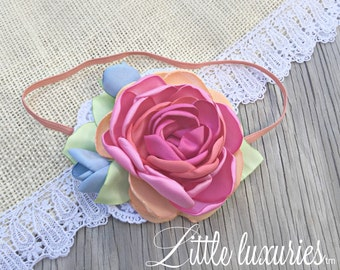 Sherbet - Coral,Pink, Lime and Blue Satin on a Coral Band, Coral and Pink Flower, Peach Headband