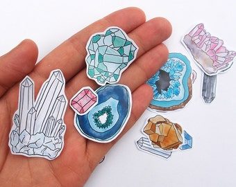 Precious Gemstone Stickers for Gift Wrapping and Letter Writing! Featuring Agate, Ruby, Quartz and Amethyst