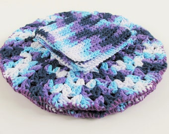 Double Thick Hot Pads, Washcloth for Kitchen, Crochet Kitchen Gift Set