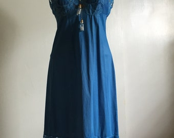 Vintage Vanity Fair Hand Dyed Slip Dress Boho Royal Blue - 34