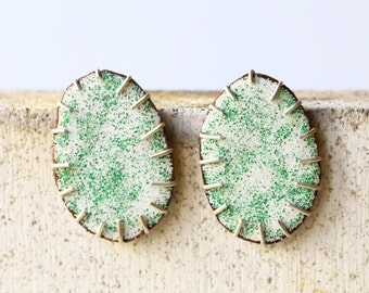 Oval statement earrings - white and green enamel on copper with sterling silver setting