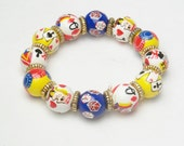 Colorful Vintage Bracelet Whimsical Deck Of Cards King Queens Jacks Stretch Costume Jewelry