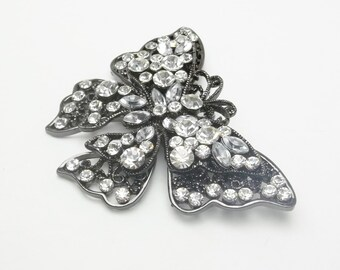 Vintage Clear Rhinestone Gun Metal Mid Century Costume Jewelry Tiered Wing Butterfly Brooch Pin on Etsy