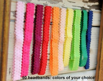 "Wholesale Frilly Lace Headbands - Set of 50 - Skinny Elastic Lace Headbands - 3/4"" Frilly Elastic Lace Headbands - Baby Headbands"