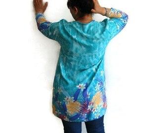 Cotton Tunic Top, Long sleeve printed tunic, Blue long sleeve tunic, Floral Cotton Tunic, Retro Cotton Tunic, Blue Blouse Tunic Top