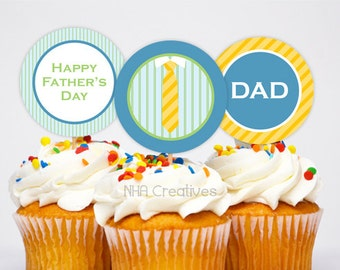 Father's Day Cupcake Toppers - Tie - DIY Printable Digital File